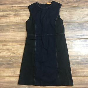Tory Burch Black Blue Piped Sheath Wool Dress Sz L